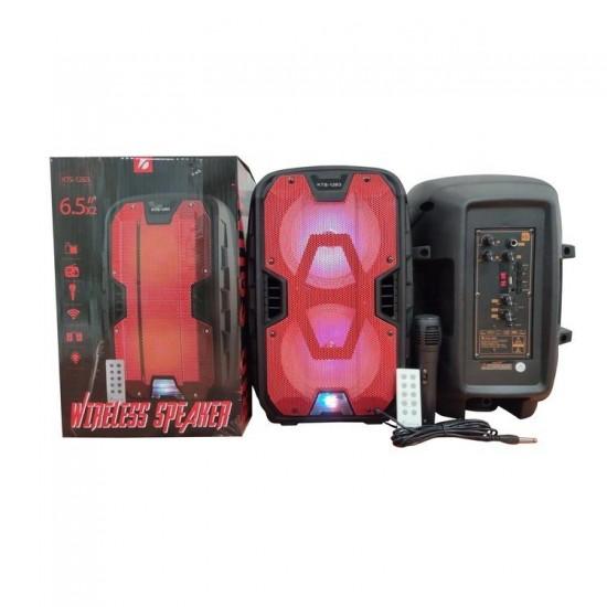 KTS-1263 MİKROFONLU LEDLİ  BULUTUT SPEAKER USB-TF-FM