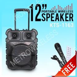 KTS-1163 12 İNÇ KABLOSUZ MİKROFONLU LEDLİ BULUTUT SPEAKER USB-TF-FM