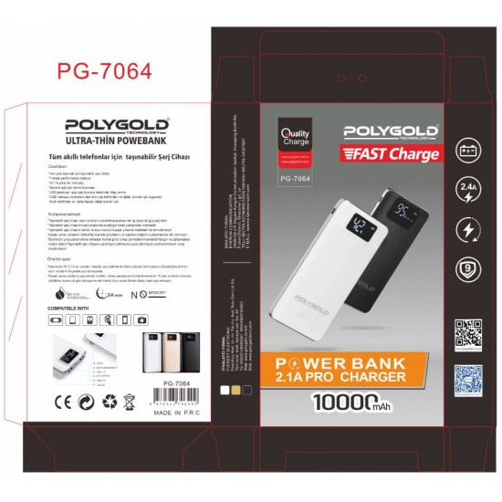 PG-7064 PRO POWER BANK 10000MAH (2,1 QUALTY ŞARZ)