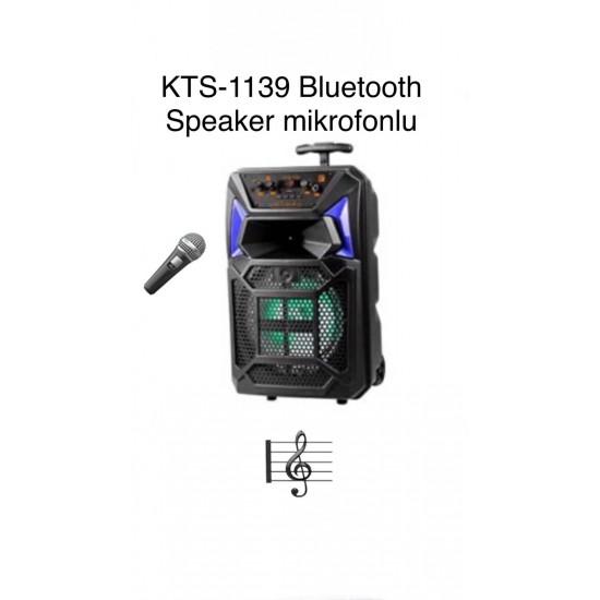 KTS-1139 MİKROFONLU LEDLİ  BULUTUT SPEAKER USB-TF-FM
