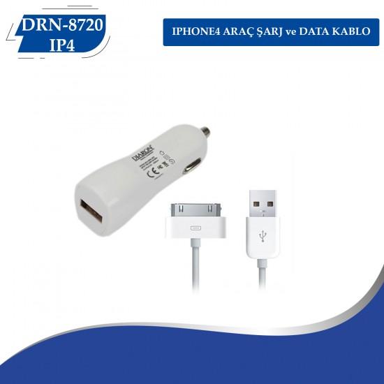 IPHONE4 ARAÇ ŞARJ ve DATA KABLO DRN-8720-IP4