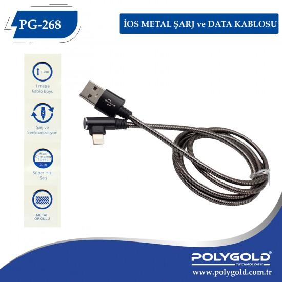 PG-268 IPHONE (L TİPİ) METAL USB DATA KABLO