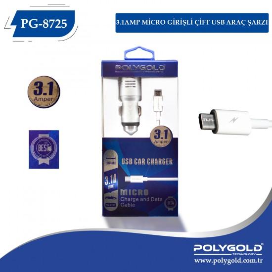PG-8725 3.1AMP MİCRO GİRİŞLİ ÇİFT USB ARAÇ ŞARZI