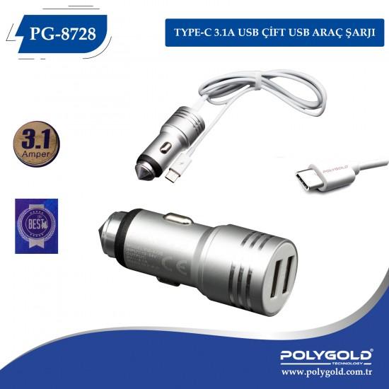 PG-8728 3.1AMP TYPE-C GİRİŞLI ÇİFT USB ARAÇ ŞARZI