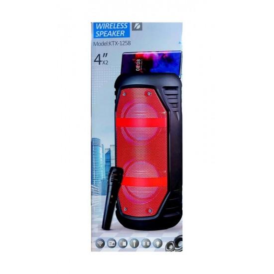 KTS-1258 MİKROFONLU LEDLİ  BULUTUT SPEAKER USB-TF-FM