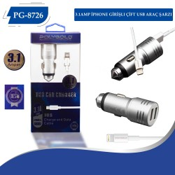 PG-8726 3.1AMP İPHONE GİRİŞLI ÇİFT USB ARAÇ ŞARZI