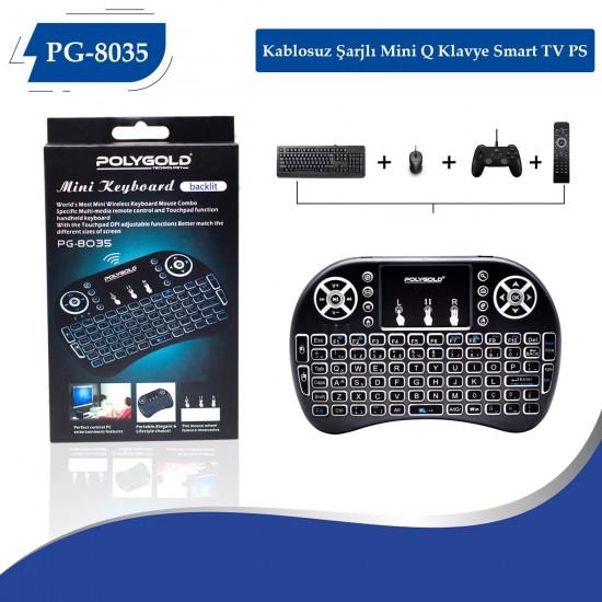 PG-8035 Kablosuz Şarjlı Mini Q Klavye Smart TV PS