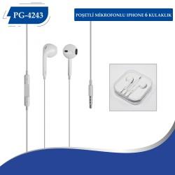 PG-4243 Poşetli  Iphone 6 Mikrofonlu Kulaklık