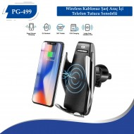 PG-499 S5 Wireless Kablosuz Şarj Araç İçi Telefon Tutucu Sensörlü