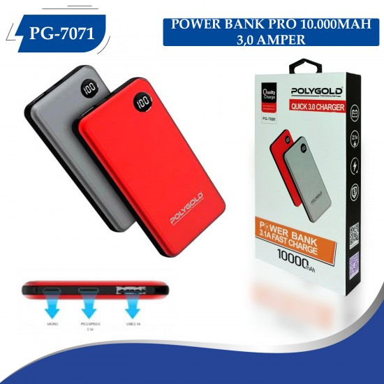 PG-7081 PRO POWER BANK 10000MAH 3.0 QUİCK (HIZLI ŞARZ)