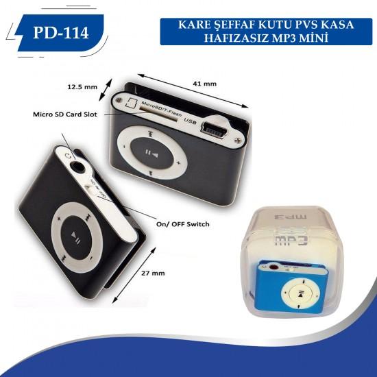 PD-114 KARE KUTU METAL KASA HAFIZASIZ MP3 MİNİ