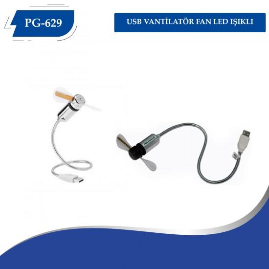 PG-629 USB VANTİLATÖR FAN LED IŞIKLI