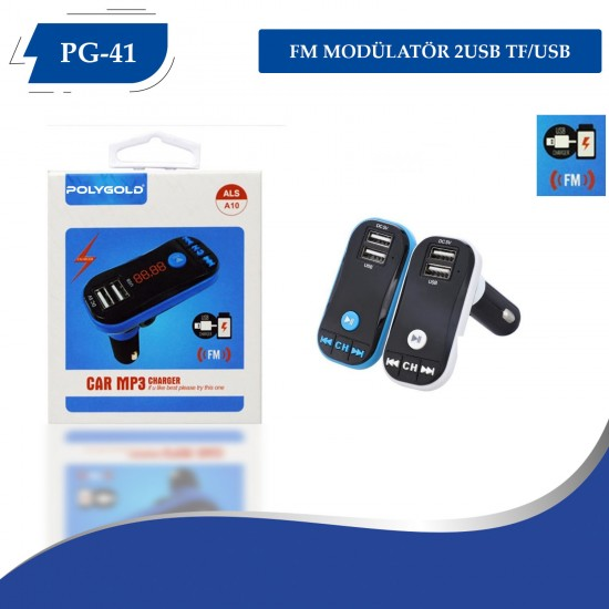 PG-41  FM MODÜLATÖR 2USB TF/USB