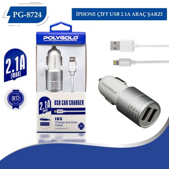 PG-8724 İphone 2.1Amper Çift usb başlıklı Kafa