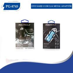 PG-8745 OTO ŞARZI 2 USB 3,1A METAL ADAPTÖR