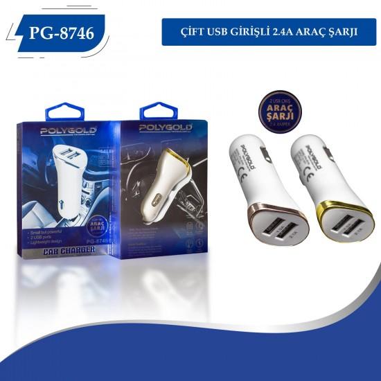 PG-8746 OTO ŞARZI 2 USB 2.4A METAL ADAPTÖR