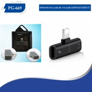 PG-669 Iphone Kulaklık ve Şarj Dönüştürücü Yeni Model