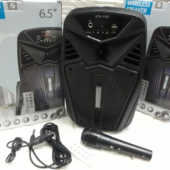 KTX-1187 MİKROFONLU LEDLİ  BULUTUT SPEAKER USB-TF-FM