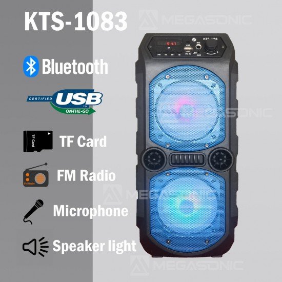 KTS-1083 MİKROFON GİRİŞLİ LEDLİ  BULUTUT SPEAKER USB-TF-FM