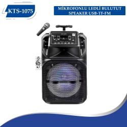 KTS-1075 MİKROFONLU LEDLİ  BULUTUT SPEAKER USB-TF-FM