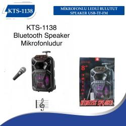 KTS-1138 MİKROFONLU LEDLİ  BULUTUT SPEAKER USB-TF-FM