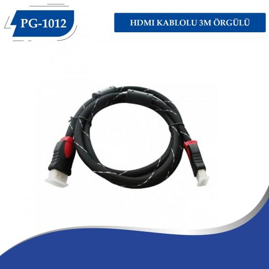 PG-1012 HDMI Kablo 3M Örgülü