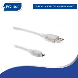PG-1070 USB 5 PİN KABLO 2.0  ŞEFFAF KABLO