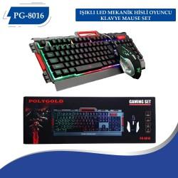PG-8016  Işıklı Led Mekanik Hisli Oyuncu Klavye Mause Set
