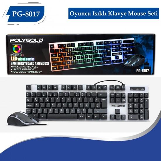 PG-8017 Oyuncu Isıklı Klavye Mause Seti
