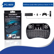 PG-8035 Kablosuz Şarjlı Mini Q Klavye Smart TV PS