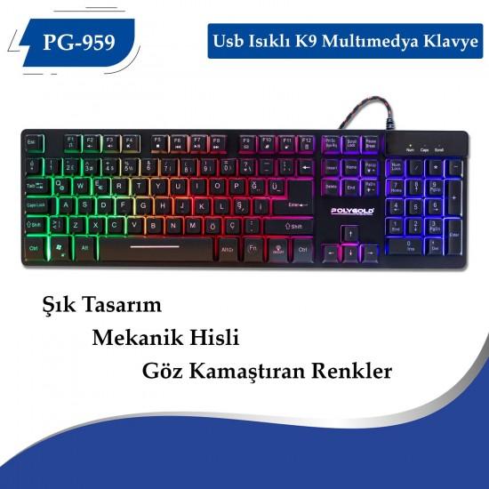 PG-959 Usb Isıklı K9 Multımedya Klavye