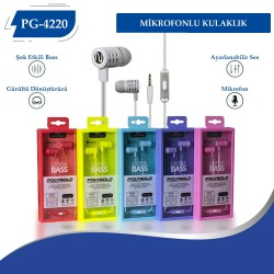 PG-4220  Mikrofonlu Kulaklık 20lik Renkli Paket