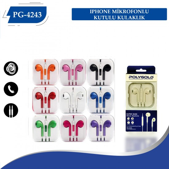 PG-4243 Iphone Tipi  Mikrofonlu Kutulu Kulaklık