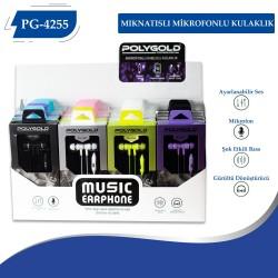 PG-4255 Mıknatıslı Mikrofonlu Kulaklık 20lik Renkli Paket
