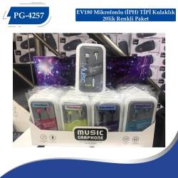 PG-4257 EV180 Mikrofonlu (İPH) TİPİ Kulaklık 20lik Renkli Paket