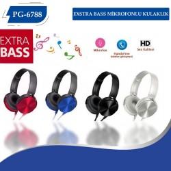 PG-6788 Extra Bass Mikrofonlu Kulaklık