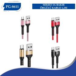 PG-8612 IPHONE 3A BAKIR ÖRGÜLÜ KABLO 1,2M