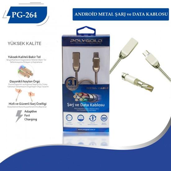 PG-264 ANDROID METAL UÇLU 3.0 USB  DATA KABLO