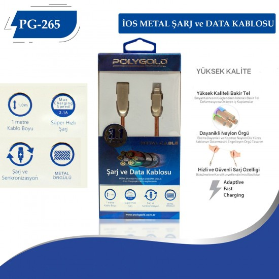 PG-265 İPHONE METAL UÇLU 3.0 USB USB DATA KABLO