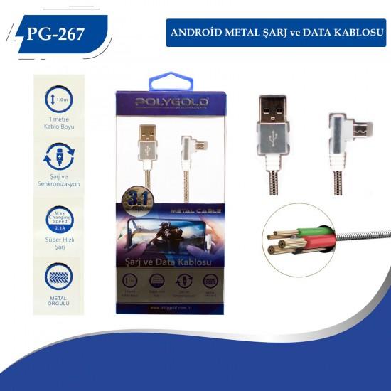 PG-267 ANDROID (L TİPİ) METAL USB DATA KABLO