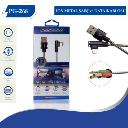 PG-268 IPHONE (L TİPİ) METAL USB DATA KABLO