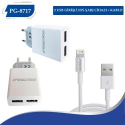 PG-8717  3.1AMPER İPHONE PRİZ SARZI ÇİFT USB GİRİŞLİ